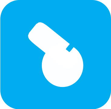Icon showing a white referee's whistle on a light blue background.