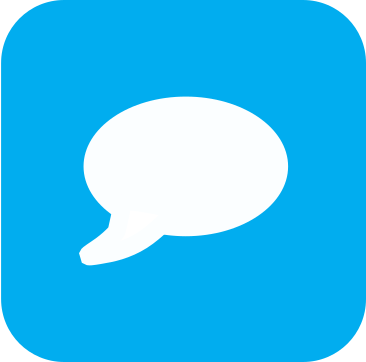 Icon showing a white speech bubble on a light blue background.