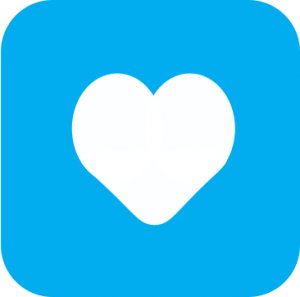 Icon showing a white cartoon heart on a light blue background.