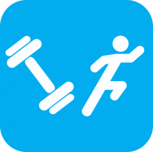 Icon showing white cartoons of a weight and a person running on a light blue background.
