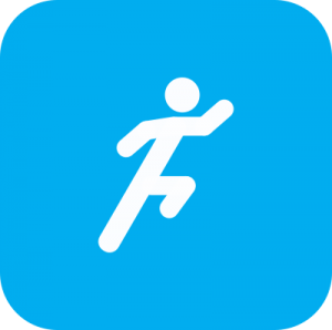 Icon showing a white cartoon of a person running on a light blue background.