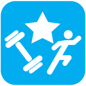 Icon showing white cartoons of a weight and a person running with a star above them on a light blue background.