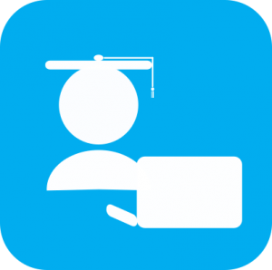 Icon showing white cartoon of a person with a graduation cap sitting in front of a laptop on light blue background.