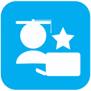 Icon showing white cartoon of a person with a graduation cap sitting in front of a laptop with a star next to them on light blue background.
