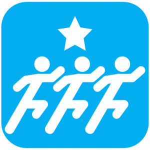 Icon showing white cartoons of three figures running with a start above them on light blue background.