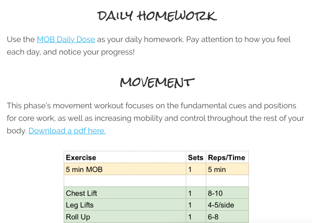 receive daily homework and a monthly rotating movement circuit