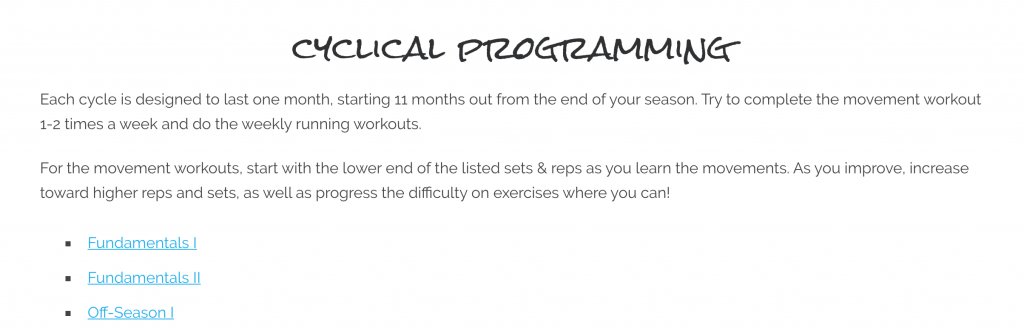 programming for this membership is cyclical - designed to take you through foundational movements, strength, stability, and power cycles