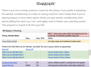 running programming progresses alongside your competitive season