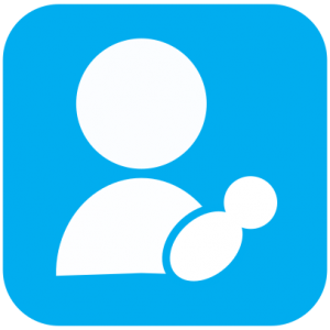 Icon showing a white cartoon of a person holding an infant on a light blue background.