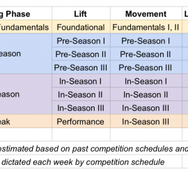 Image of the womxn's pro training calendar. December is a Foundations/Fundamentals month, with 2-3 lfits a week and 2 running workouts a week. The pre-season runs from January through March and has 1-2 lifts and 2 running workouts a week. The in-season runs from April to June with a peak at the end of June. During the season there are 1-2 lifts and 1-2 running workouts a week, with volume dictated each week by the team's competition schedule. This calendar is set according to past competition schedules and can be adjusted to changes by the pro league.