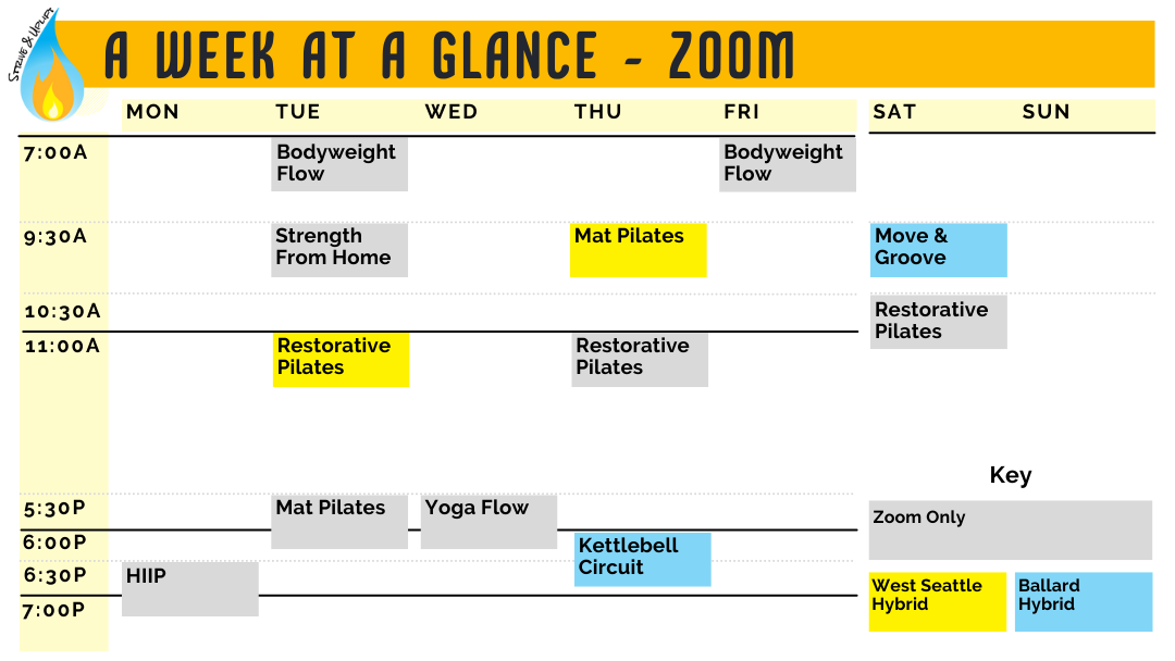 Image showing the weekly schedule of classes. Go to the schedule page to access the daily schedule and read each day's options.