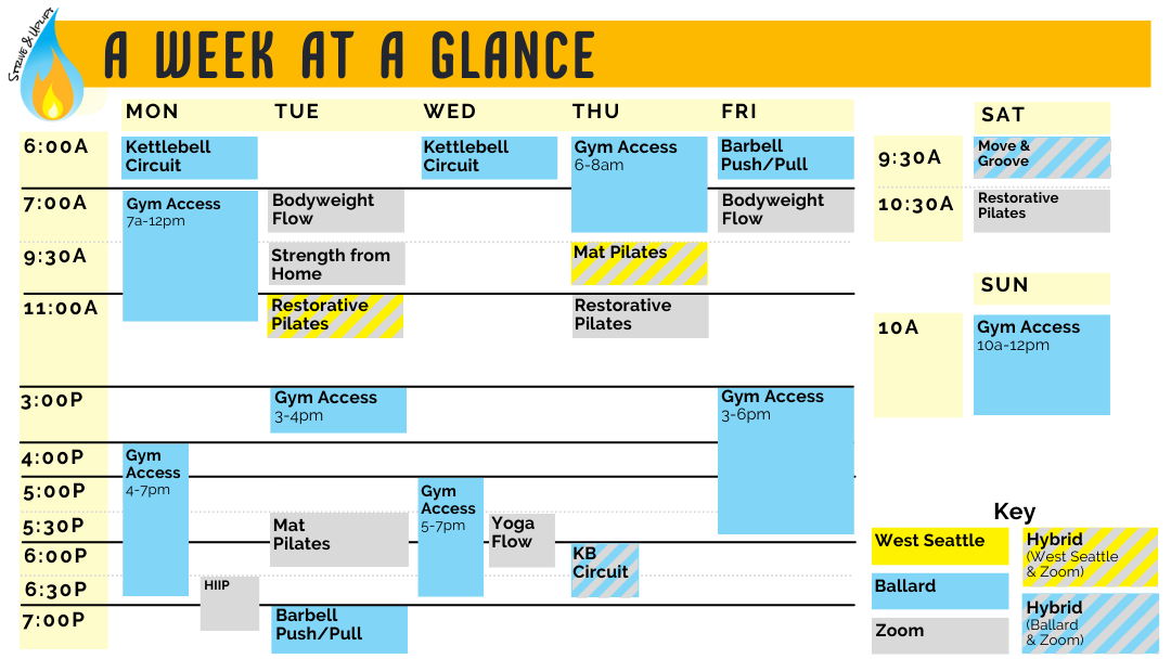 Overview of Class Schedule for our Ballard, West Seattle, and Zoom locations.