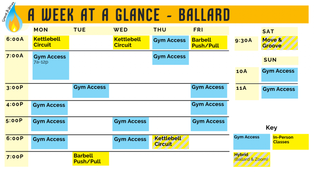 Image showing the weekly schedule of classes. See the schedule below to access the daily schedule and read each day's options.